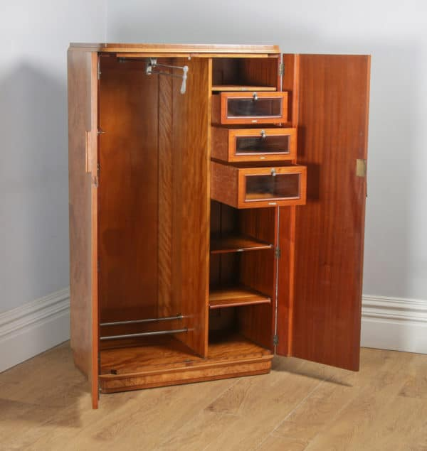 Antique English Art Deco Burr Maple, Satinwood & Walnut Two Door Compactum Wardrobe (Circa 1930) - yolagray.com
