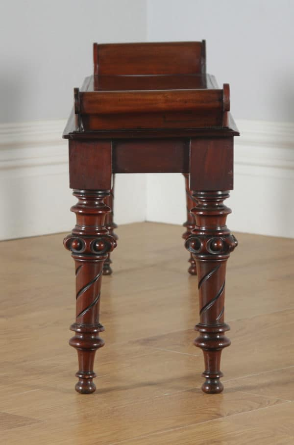 Antique English Victorian Gothic Carved Mahogany Window / Hall Bench / Stool / Seat (Circa 1840) - yolagray.com