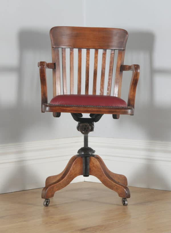 Antique English Edwardian Beech & Red Leather Revolving Office Desk Chair (Circa 1910) - yolagray.com