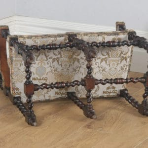 Antique English Victorian Black Forest Carolean Oak & Tapestry Couch / Settee / Sofa (Circa 1870) - yolagray.com