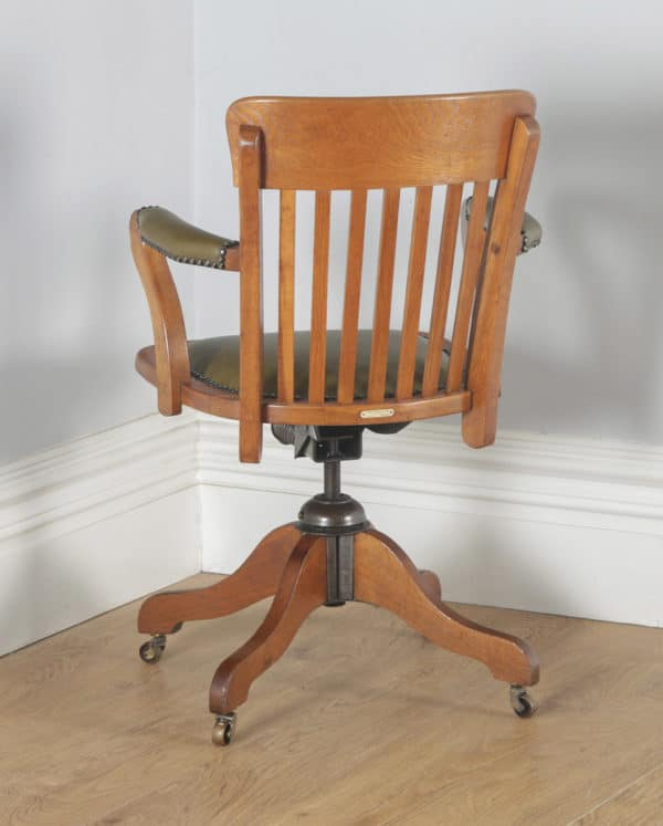 Antique English Edwardian Oak & Green Leather Revolving Office Desk Arm Chair by Matthews & Son of Liverpool (Circa 1910) - yolagray.com