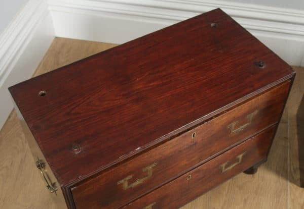 Antique Victorian Colonial Teak & Brass Military Campaign Chest of Drawers (Circa 1840) - yolagray.com