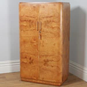 Antiques Edwardian Satinwood And Birdseye Maple Wardrobe Antique Furniture
