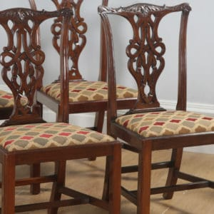 Antique English Set of Eight Georgian Chippendale Style Mahogany Dining Chairs (Circa 1900) - yolagray.com