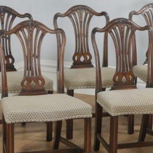 Set of Eight English Georgian Hepplewhite Style Mahogany Dining Chairs (Circa 1970) - yolagray.com