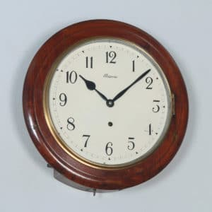 "Antique 16"" Mahogany Ansonia Railway Station / School Round Dial Wall Clock (Timepiece) - yolagray.com"
