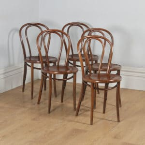 Antique Set of Five Thonet Fischel Bentwood Beech Hoop Back Kitchen Bistro Cafe Dining Chairs (Circa 1920) - yolagray.com