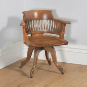 Antique English Victorian Oak Revolving Office Desk Arm Chair (Circa 1890) - yolagray.com