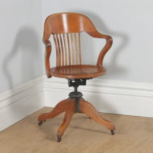 Antique English Edwardian Oak Revolving Office Desk Arm Chair (Circa 1910) - yolagray.com