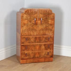 Antique English Art Deco Burr Walnut Two Door Tallboy Compactum Chest of Drawers (Circa 1930) - yolagray.com