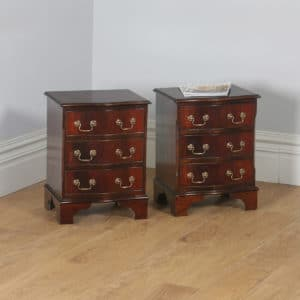 Pair of English Georgian Regency Style Flame Mahogany Bachelor Serpentine Bedside Chests of Drawers (Circa 1970)- yolagray.com