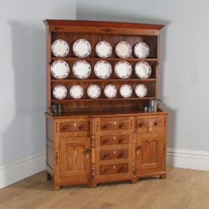 Antique Welsh Talwrn Anglesey Breakfront Georgian Oak & Mahogany Side Board Dresser Base & Rack (Circa 1810) - yolagray.com