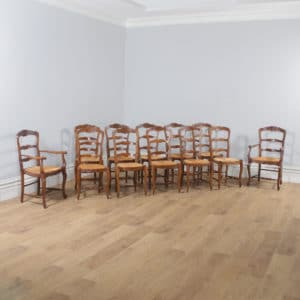Antique Set of 12 French Louis XV Style Oak Ladder Back Rush Seat Kitchen Dining Chairs (Circa 1910) - yolagray.com