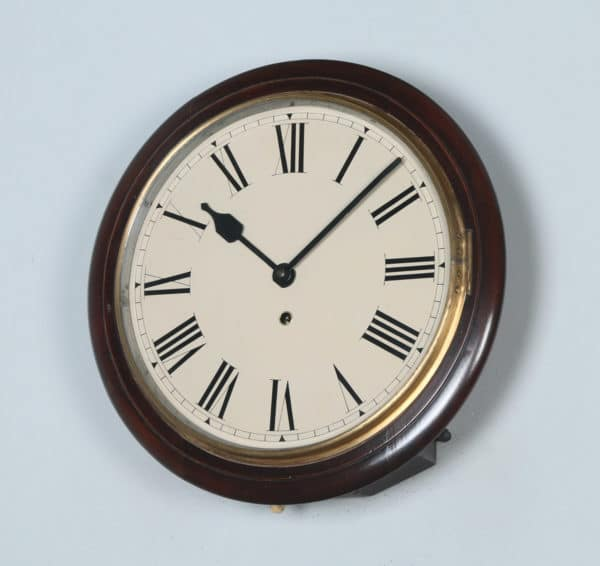 "Antique 15"" Mahogany Smiths Railway Station / School Round Dial Wall Clock (Timepiece) - yolagray.com"