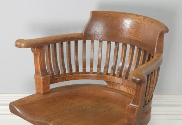 Antique English Victorian Oak Revolving Office Desk Arm Chair (Circa 1890) - yolagray.com