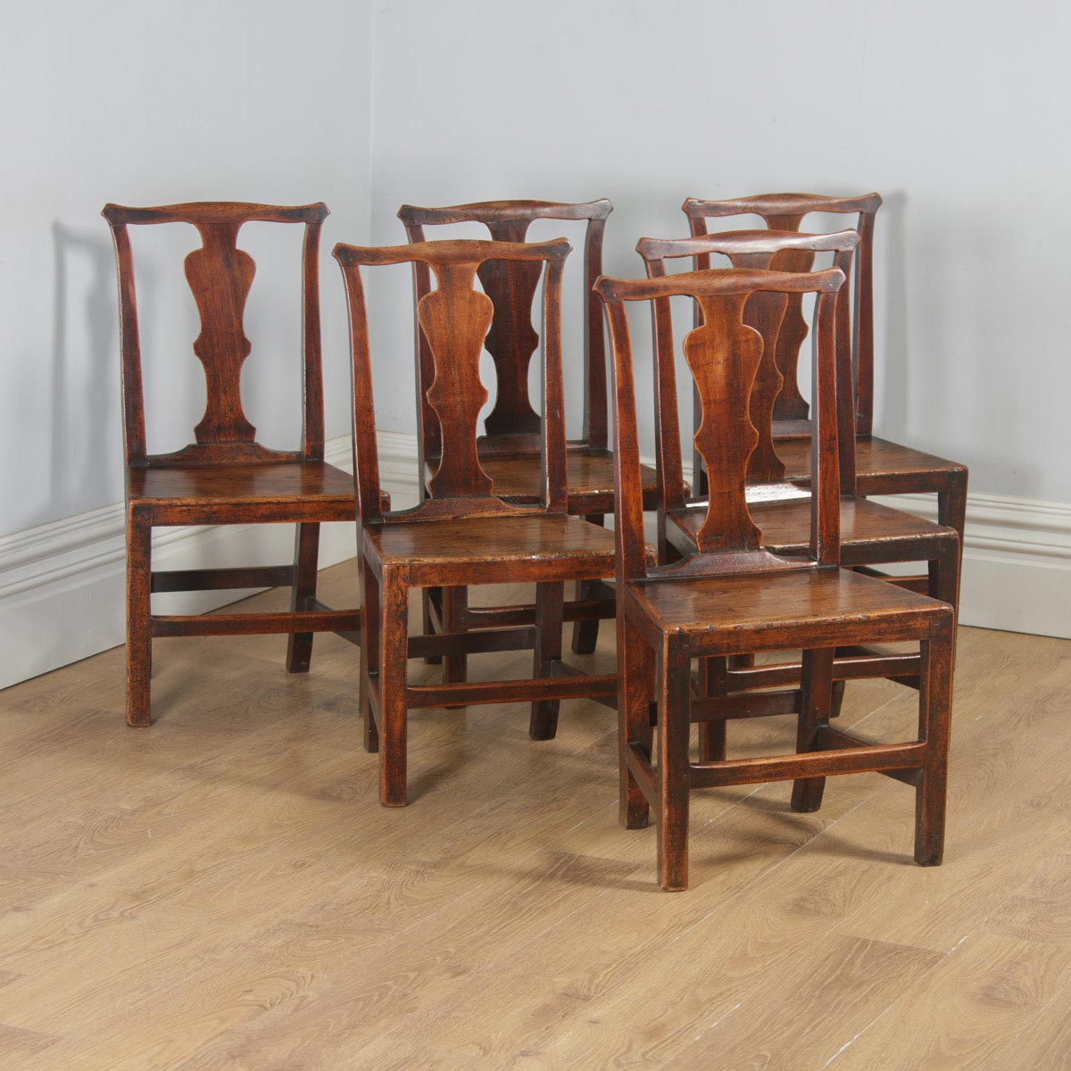 6cbd7bd80525d Antique Set of Six Georgian Chippendale Elm Country Cottage Kitchen Dining  Chairs (Circa 1780)