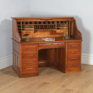Antique English Edwardian 5ft Oak Roll Top Pedestal Office Writing Desk (Circa 1910) - yolagray.com