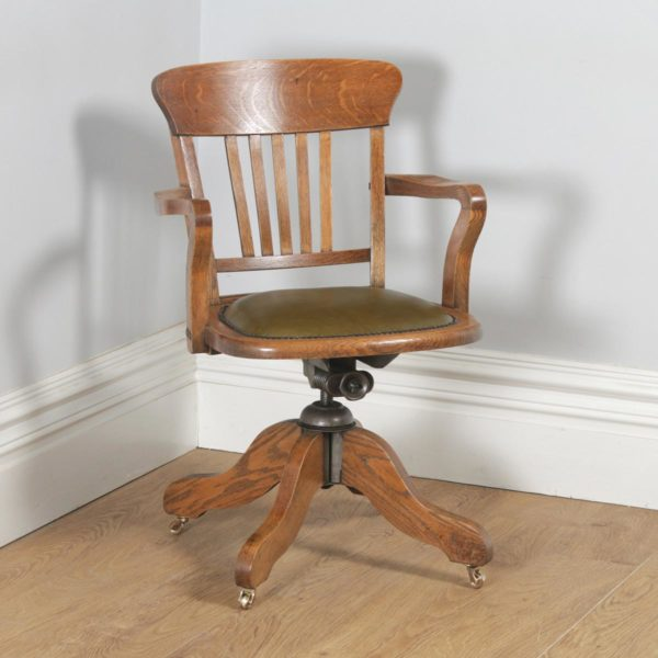 Antique English Edwardian Oak & Green Leather Revolving Office Desk Arm Chair (Circa 1910)- yolagray.com