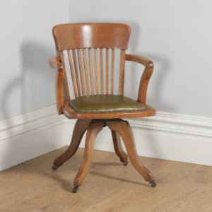 Antique Edwardian Oak & Green Leather Revolving Office Desk Arm Chair (Circa 1910)- yolagray.com