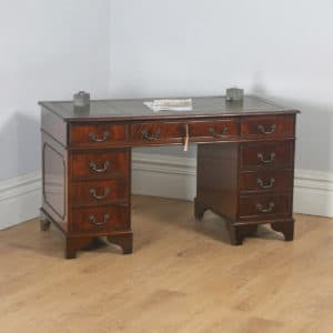 "Vintage English Georgian Style Flame Mahogany & Green Leather 4ft 6"" Pedestal Office Desk (Circa Late 20th Century) - yolagray.com"