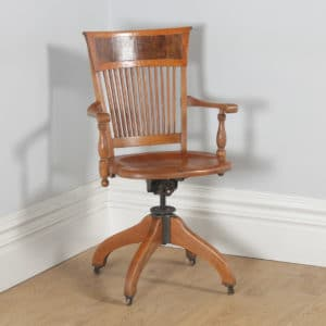 Antique American Edwardian Oak and Burr Walnut Revolving Office Desk Arm Chair by J.S. Ford, Johnson & Company of Chicago (Circa 1900)- yolagray.com
