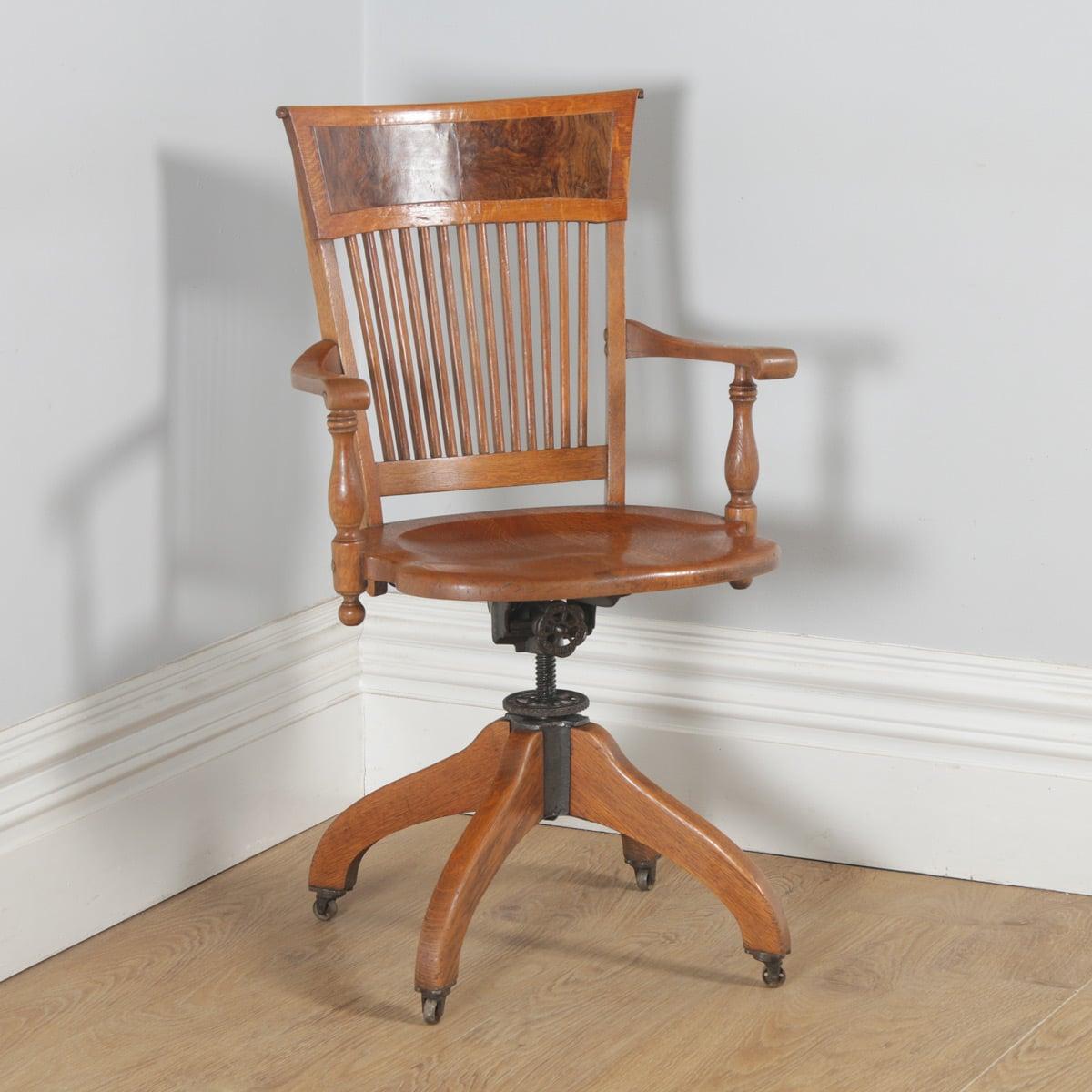 antique american oak burr walnut revolving desk arm chair j s rh yolagray com Types of Oak Arm Chairs Oak Windsor Arm Chairs