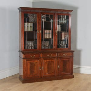 Antique English Georgian Style Flame Mahogany Glazed Library Office Bookcase by S&H Jewell of London (Circa 1900) - yolagray.com