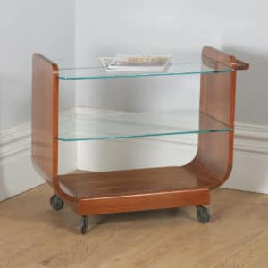 Art Deco Retro Vintage Danish Teak & Glass Serving Tea & Bar Drinks Trolley (Circa 1940) - yolagray.com