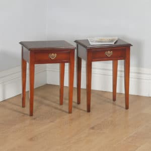 Pair of English Georgian Regency Style Inlaid Mahogany & Burr Walnut Bed Side Tables / Nightstands (Circa 1980)- yolagray.com