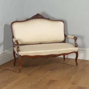 Antique French Louis XV Style Walnut Upholstered Salon Couch Sofa Settee (Circa 1860) - yolagray.com