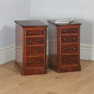 Antique Pair of English Victorian Mahogany Bedside Chests / Tables / Nightstand (Circa 1860)- yolagray.com