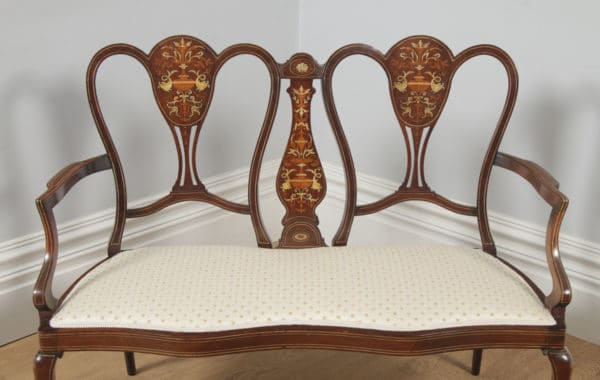Antique English Victorian Mahogany & Satinwood Marquetry Inlaid Salon Couch Sofa Settee (Circa 1890) - yolagray.com