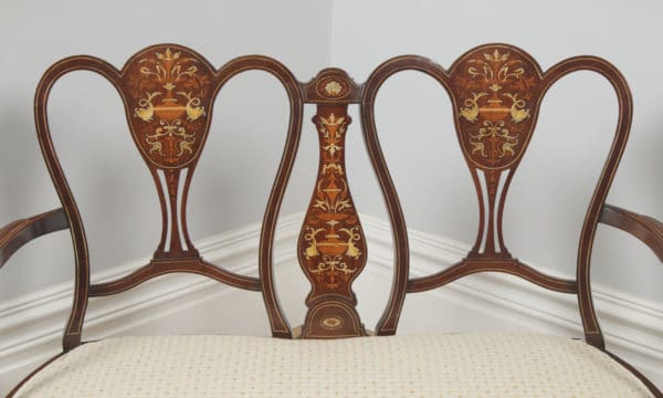 Antique English Victorian Three Piece Mahogany & Satinwood Marquetry Inlaid Salon Suite Sofa & Pair of Chairs (Circa 1890) - yolagray.com