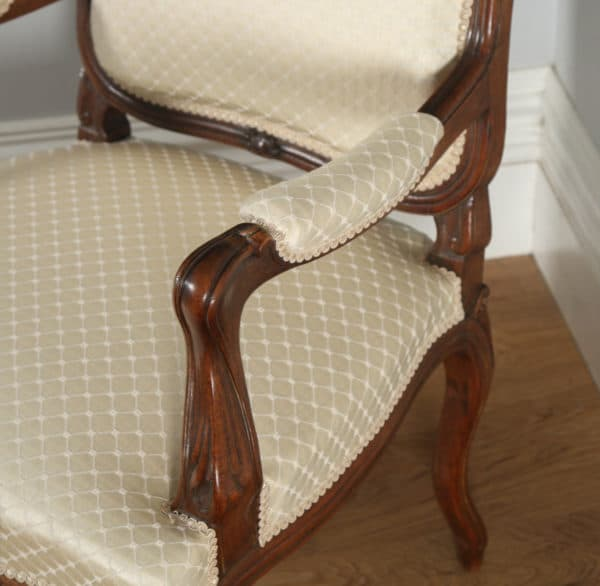 Antique French Pair of Louis XV Style Walnut Upholstered Salon Fauteuil Armchairs (Circa 1860) - yolagray.com