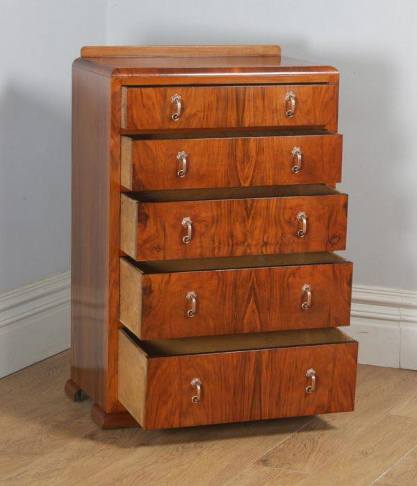 Antique English Art Deco Figured Walnut Tallboy Chest of Drawers (Circa 1930)- yolagray.com