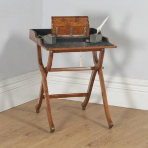 Antique English Victorian Oak Folding Campaign Writing Compendium Desk Table (Circa 1890) - yolagray.com
