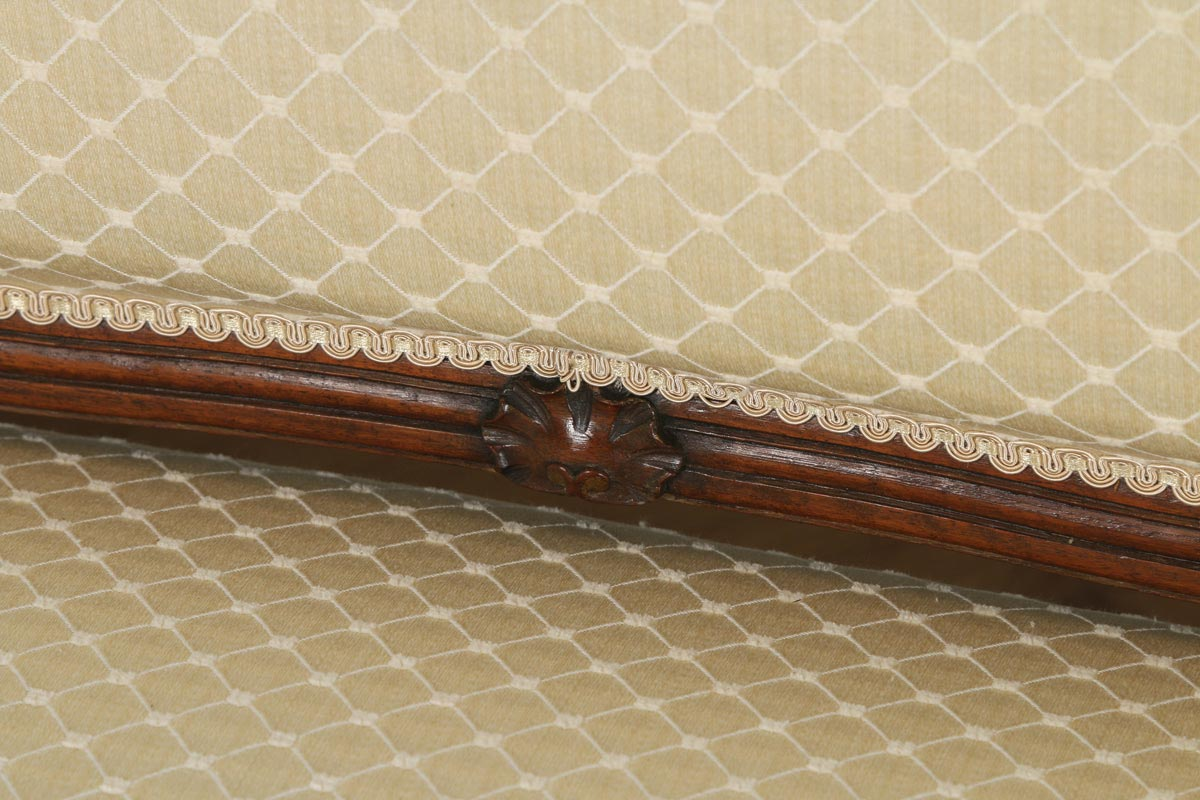 Antique French Louis XV Style Walnut Upholstered Salon Couch Sofa ...
