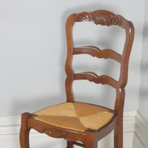 Antique Set of 8 French Louis XV Style Oak Ladder Back Rush Seat Kitchen Dining Chairs (Circa 1910) - yolagray.com