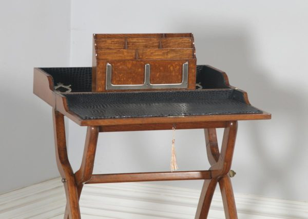Antique English Victorian Oak Folding Campaign Writing Compendium Desk Table (Circa 1890)- yolagray.com