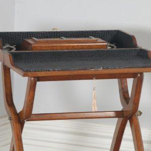Antique English Victorian Oak Folding Campaign Writing Compendium Desk Table (Circa 1890)- yolagray.com