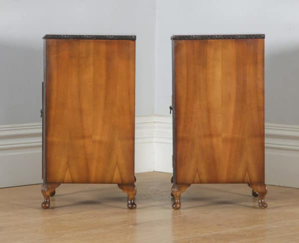 Antique English Pair of Queen Anne Style Burr Walnut Bedside Cupboards Nightstands (Circa 1940) - yolagray.com