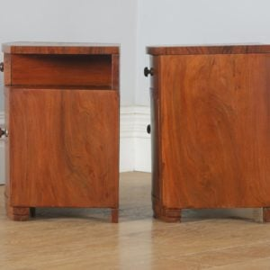 Antique English Pair of Art Deco Figured Walnut Bedside Cupboards / Tables / Nightstands (Circa 1930) - yolagray.com