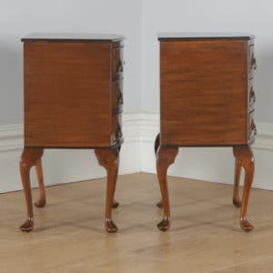 Antique English Pair of Queen Anne Style Burr Walnut Bow Front Bedside Chests Tables Nightstands (Circa 1940) - yolagray.com