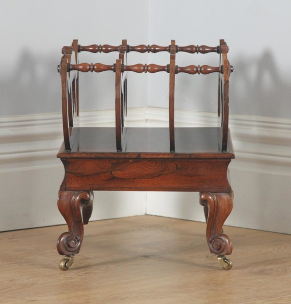 Antique English William IV Rosewood Canterbury Magazine / News Paper / Music Rack / Stand / Tidy (Circa 1835)- yolagray.com