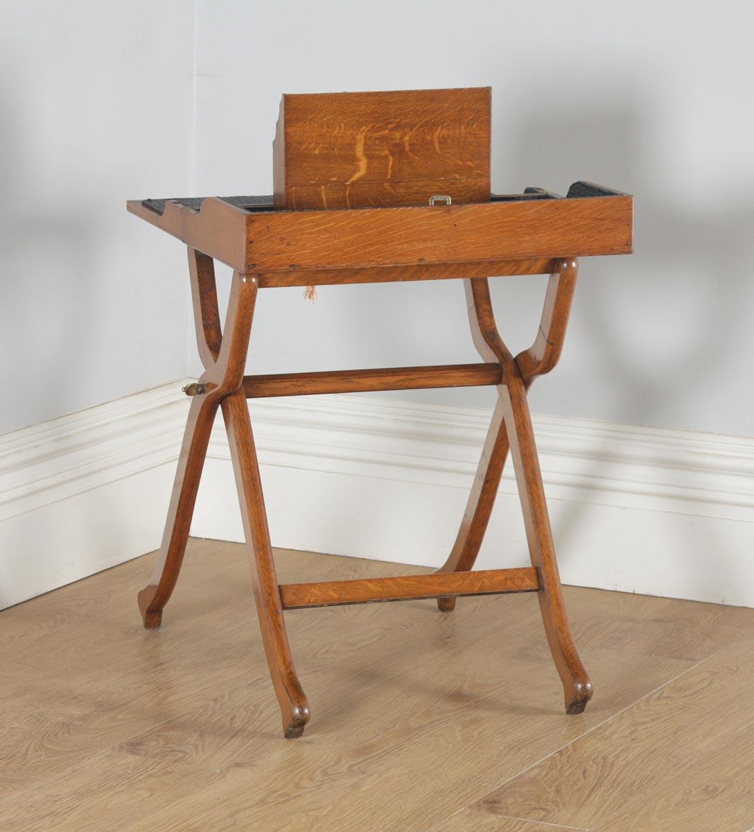 Antique English Victorian Oak Folding Campaign Writing Compendium Desk Table Circa 1890 Yolagray