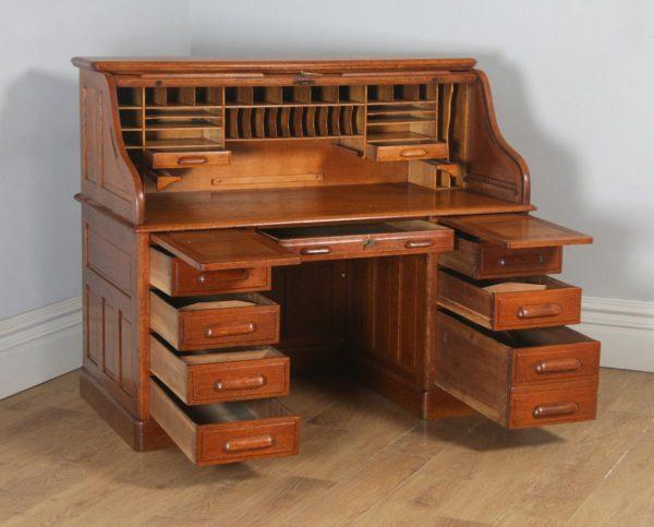 Antique English Edwardian 5ft Oak Roll Top Pedestal Office Writing Desk (Circa 1910) - yolagray.com