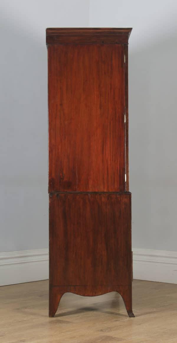 Antique English Georgian Regency Flame Mahogany Linen Press Wardrobe Cupboard (Circa 1820)- yolagray.com