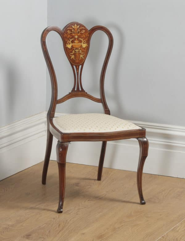 Antique English Victorian Pair of Mahogany & Satinwood Marquetry Inlaid Salon Side Chairs (Circa 1890) - yolagray.com