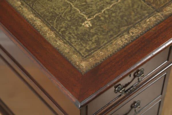 "Vintage English Georgian Style Flame Mahogany & Green Leather 4ft 6"" Pedestal Office Desk (Circa Late 20th Century) - yolagray.com"