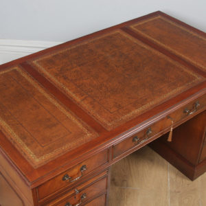 "Vintage English Georgian Style Flame Mahogany & Brown Leather 5ft 1⅝"" Pedestal Office Desk (Circa 1980) - yolagray.com"